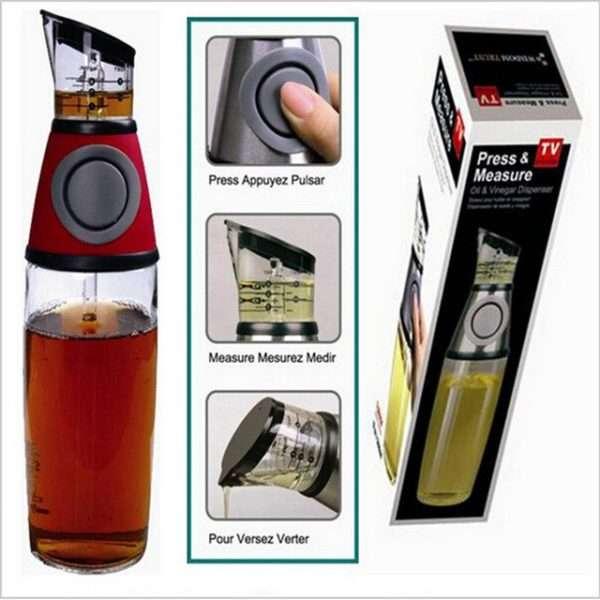 Press Measurable Condiment Glass Bottle